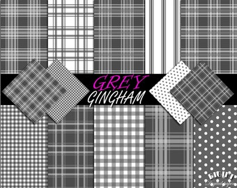 Grey Gingham Digital Paper Black And White Fabric Print Gray Party Invitation