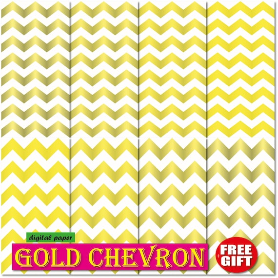 Gold Chevron digital paper chevron wallpaper border GOLD scrapbook paper Metallic Gold Chevron wedding invitation golden personalized print