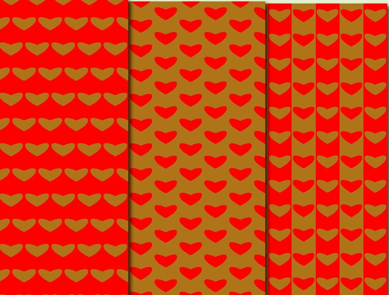 Red and Gold Hearts digital paper Gold heart Gold decor Red scrapbook digital clipart Gold decoration Red and Gold wrapping paper valentines