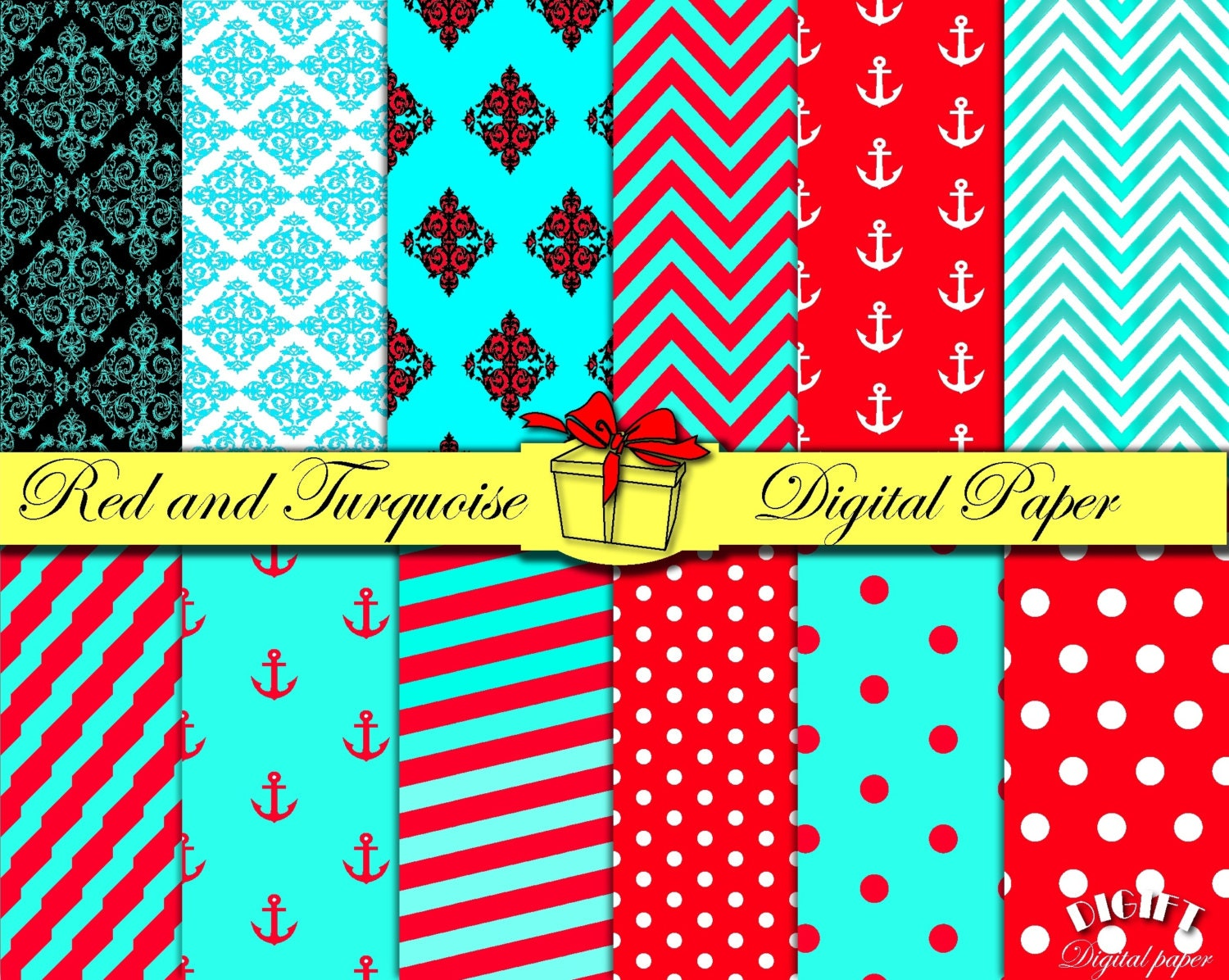 Red and Turquoise digital paper Red and Teal decor Red and | Etsy