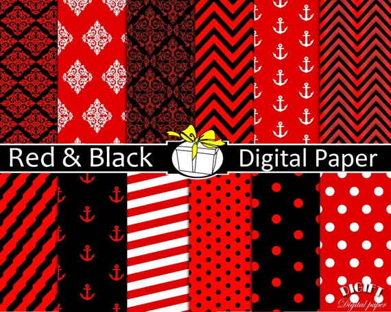 Red and Black digital paper Red decor Red and black wedding invitation Red and black minnie mouse party red and white stripe fabric print