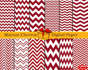 Maroon chevron digital paper Dark red maroon and white chevron decor Maroon chevron fabric prints Chevron party supplies Chevron wallpaper