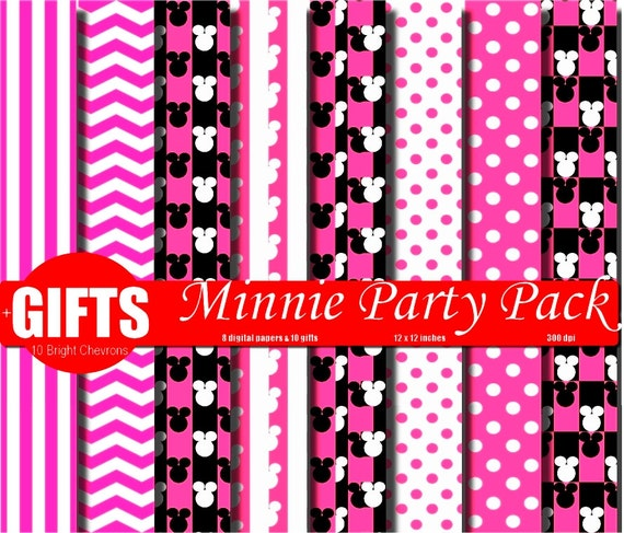 pink minnie mouse birthday invitation background digital paper etsy