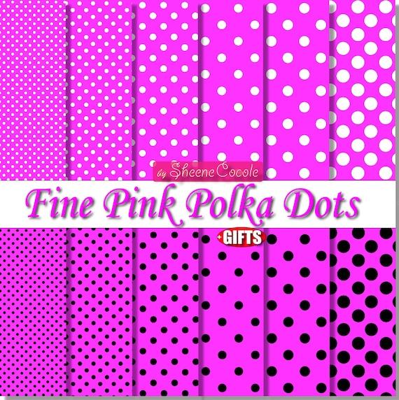 digital collage Printable Paper background set of 3 sheet Polka Paper