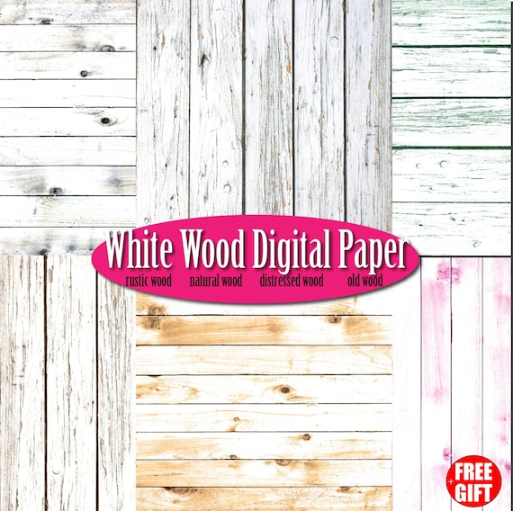 White Wood Digital Paper Rustic Wall Art Scrapbook Background Natural Wooden Clipart Frame