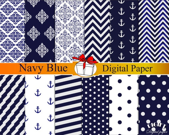 Navy Blue digital paper dark Blue damask Navy blue chevron Blue polka dot Anchor decor Navy blue wedding invitation print blue decorations