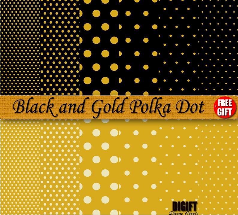 Black And Gold Polka Dot Digital Paper Clipart Background Gold Etsy