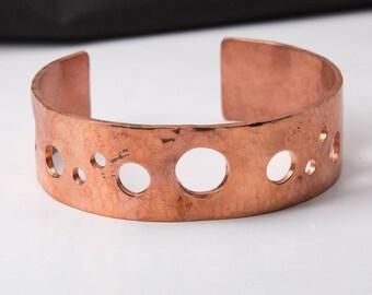 Copper Cuff Bracelet with Random Circular Piercings