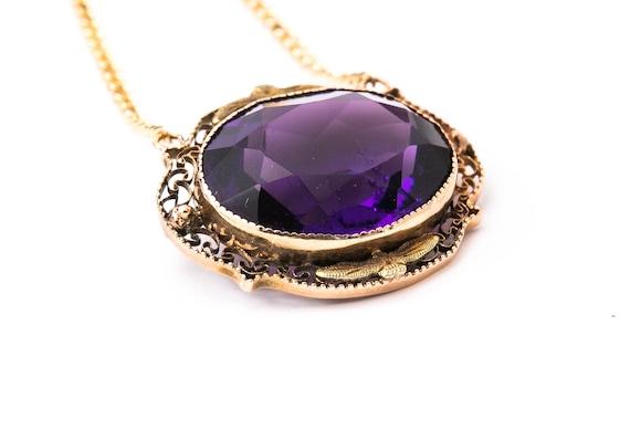 Vintage Imitation Amethyst Necklace - Yellow Gold… - image 2