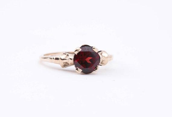 Vintage Garnet Ring - Dark Red Garnet - January Bi