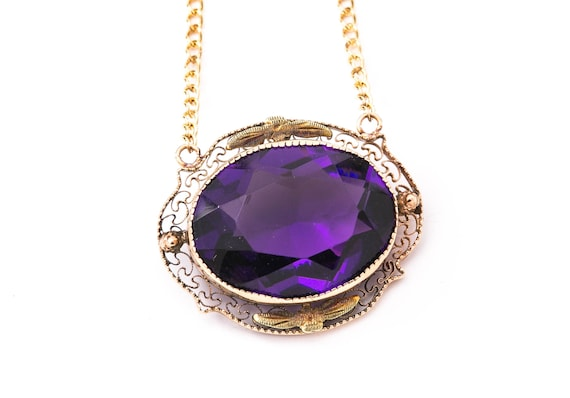 Vintage Amethyst Necklace - Yellow Gold Amethyst N