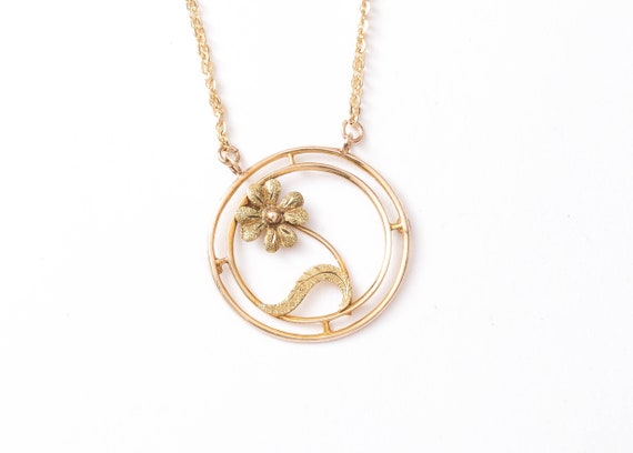 Flower Necklace - Retro 1950s 10k Yellow Gold Flow