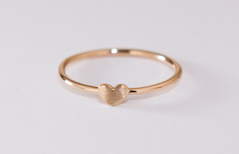 Handmade Recycled Gold Jewelry DAINTY GOLD HEART Ring 14k yellow gold