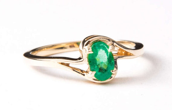 Emerald Ring, May Birthstone Emerald Ring, Oval Em