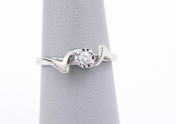 Unique Diamond Ring - 14 Karat White Gold Ring - S