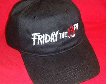 888819cc730 Mens adjustable black hat - FRIDAY the 13TH - embroidered