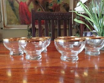 Elegant Vintage Gold Rimmed Glass Dessert Cups Set of Six