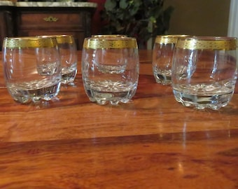 Beautiful Vintage Cut Glass Base Embossed In Gold Shot Glasses Set Of Six