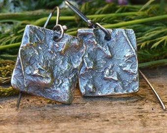 bronze silver square earrings
