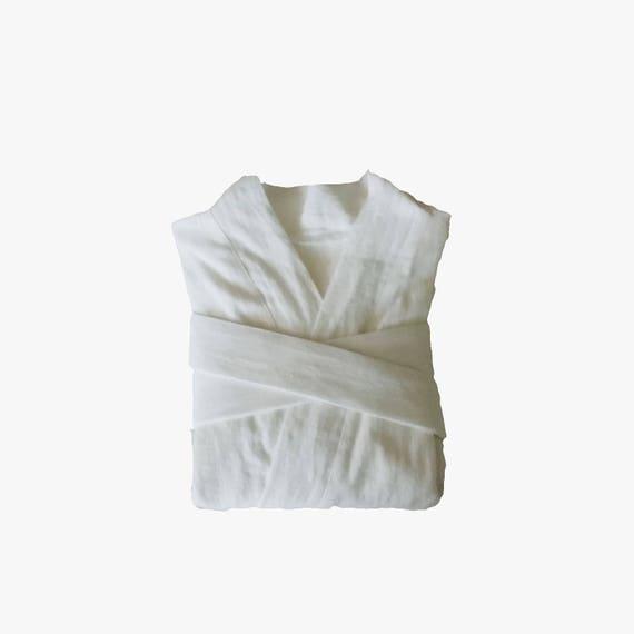 Manto de lino blanco lino albornoz traje de lino kimono  13ce06943b90
