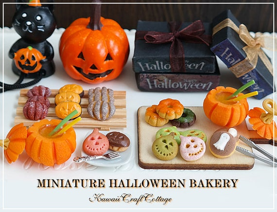 Halloween Miniaturen.1 6 Miniature Food Donuts Miniature Halloween Pumpkin Bakery Pastry Drinks Blythe Barbie Yosd Bjd Dolls Playscale Fake Food Mini Small Tiny