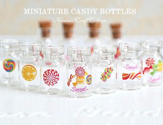 miniature glass jars glass bottles mini bottle vials dollhouse etsy