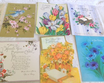 12 Vintage Greeting Cards - Floral Birthday and Easter Cards
