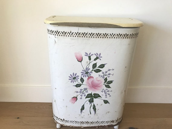 Faux Marble Top Mid Century Bedroom Home Decor Painted Floral Details Vintage Hamper Retro 1960s White Metal Clothes Hamper by Detecto
