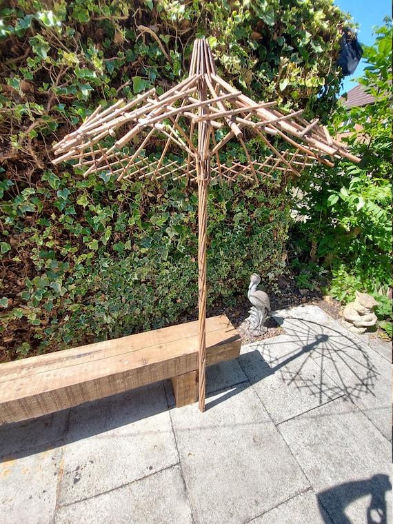 Primitive Antique Hand made Parasol Table folding