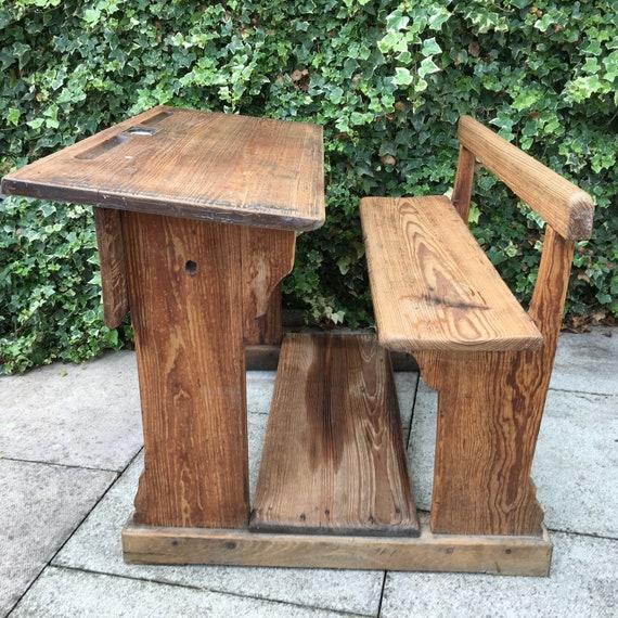Antique Wooden School Bench Desk Double Seater Childrens Wooden School  Desks Childs Study Desk