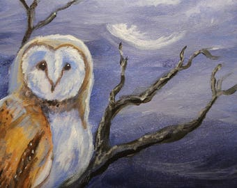 Night of the Barn owl original acrylic painting