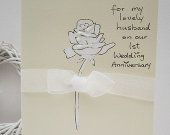 1st Anniversary card, husband card, wife card, hand painted card, first anniversary husband, first anniversary wife, gift bag available