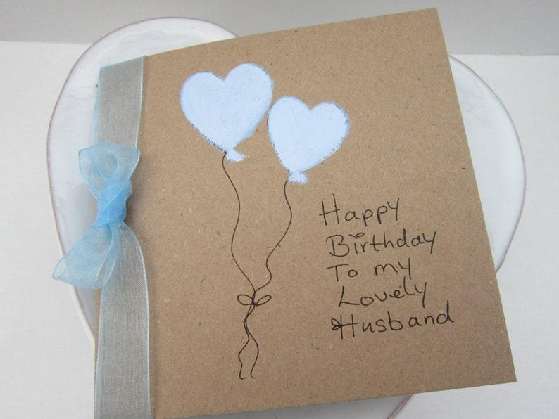 Handpainted Card Heart Balloons Husband Birthday