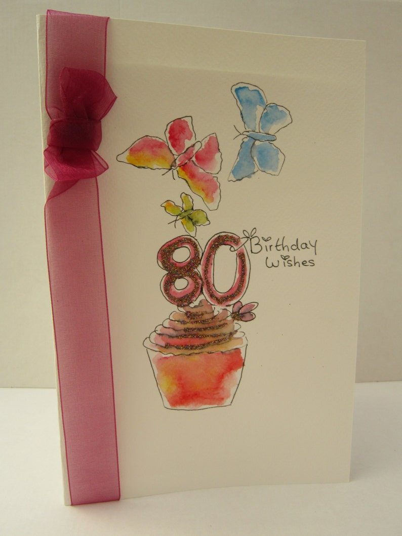 80th Birthday Card Watercolour Wife