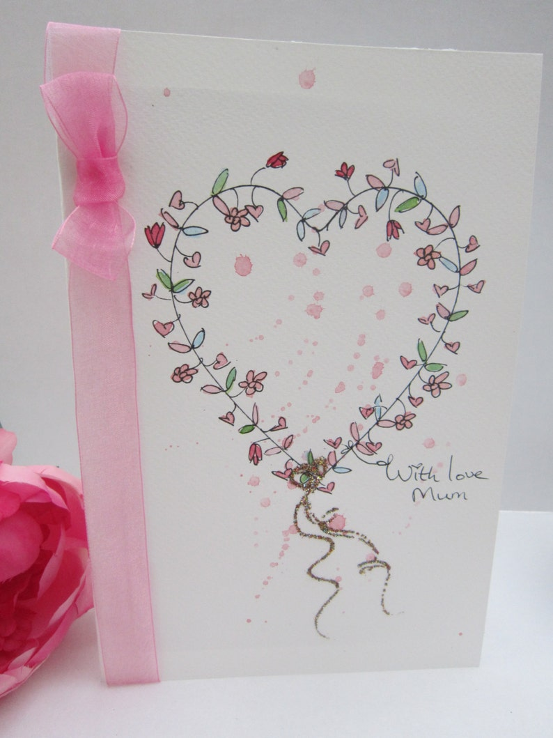Watercolour Card Large Matching BookmarkGift Tag Mum