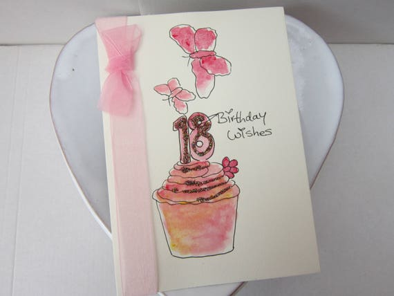 18th Birthday Card Watercolour Daughter