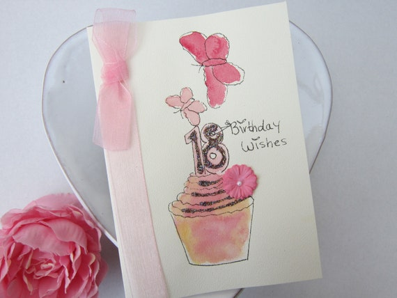 handmade card 18th birthday gift granddaughter card personalise watercolour card hand painted card 18th Birthday Card daughter card