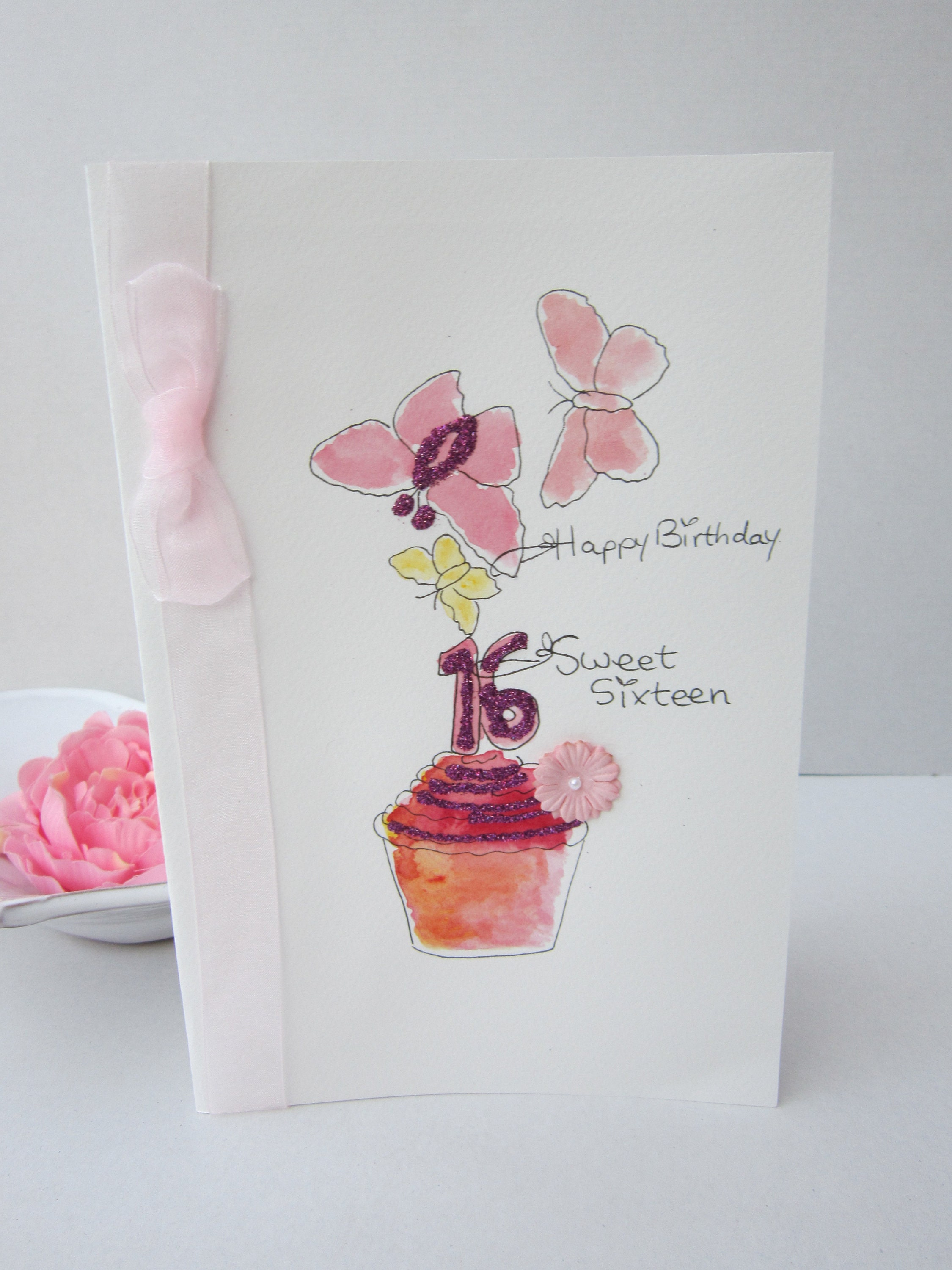 Sweet Sixteen Watercolour Card 16th Birthday Daughter