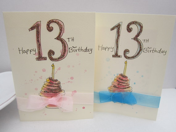 13th Birthday Card Watercolour Cards Personalise Daughter Niece Handmade Hand Painted