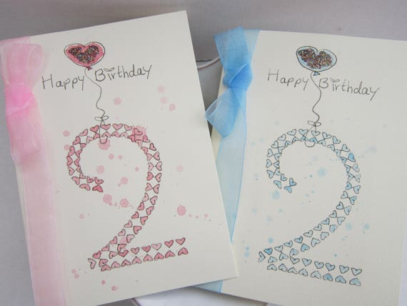 Watercolour Card 2nd Birthday Personalise