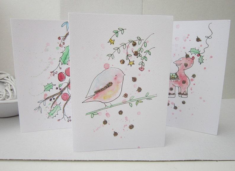 Gemalte Weihnachtskarten.Packung Mit 5 Weihnachtskarten Aquarell Karten Personalisieren Set Weihnachtskarten Von Hand Gemalte Karten Weihnachtskarten Handgemachte Karte