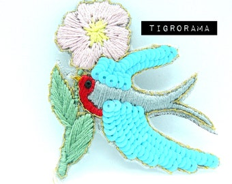 18th Birthday gift Embroidered swallow brooch Blue and purple jewelry