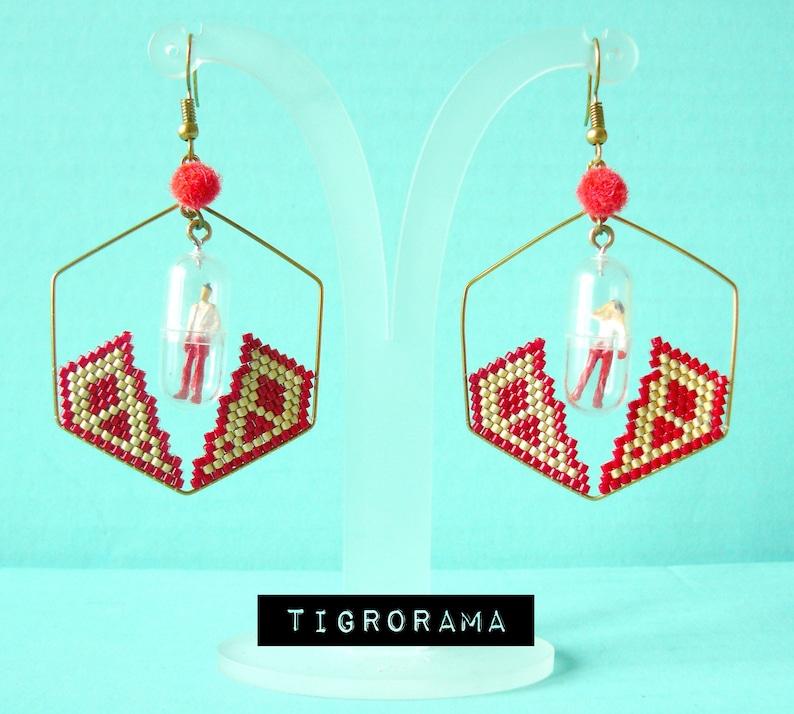retro future red diamond creole earrings