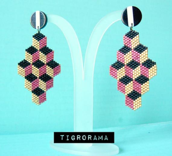 Earrings ethnic style pink Miyuki D\u00e9licas