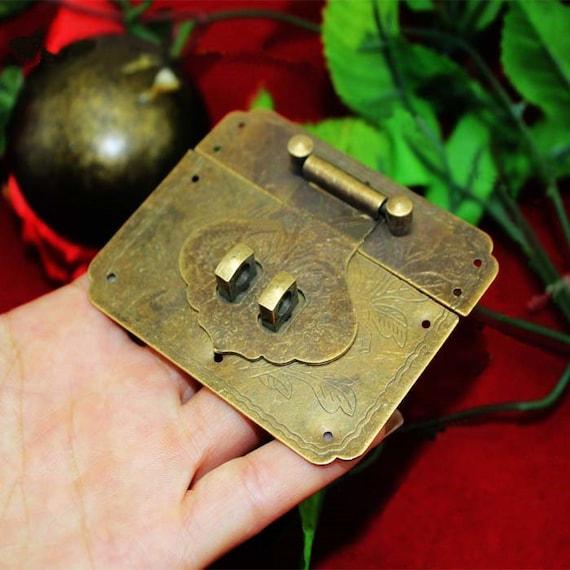 Plus la fermeture du loquet 78mm Vintage Bronze métal ancien ancien métal chinois serrure en laiton, bouchon clé cadenas, serrure de mariage - deux ensemble de verrou de 25 / 30mm interne - v44 3fc9f2