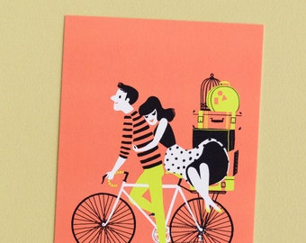 Mini Art Print - Couple on Bike