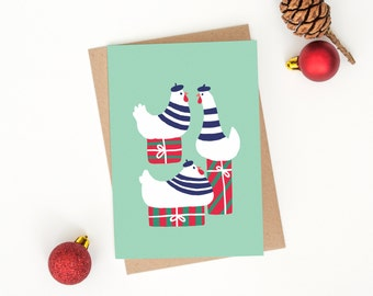 """Christmas Card - """"Three French Hens"""" - 12 Days of Christmas Collection"""