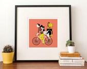 Big Art Print - Couple on Bicycle