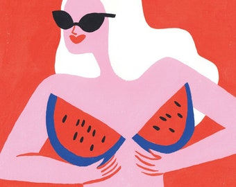 Limited Edition - Watermelon Boobs - Big Art Print