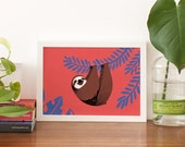 Medium Art Print - Happy Sloth